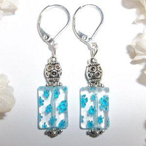 Turquoise Blue Flower Earrings Handmade NWT 5500
